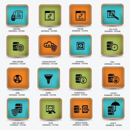 protected database: Iconos del sistema de base de datos y el ordenador, vector