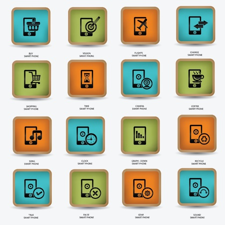Technology mobile phone icons,vector Vector