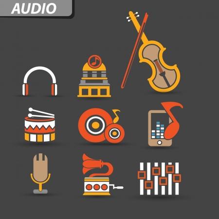 Audio icons,vector