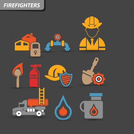 smoke alarm: Firefighters icons,vector