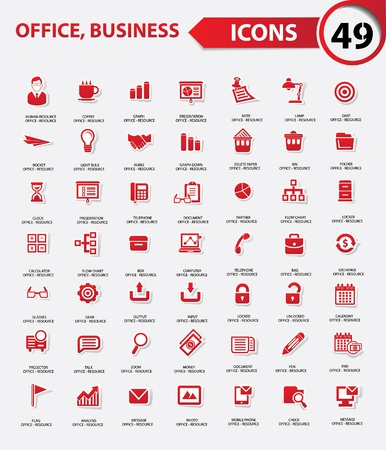 Set of web icons for office business and communication,Red version ,vector
