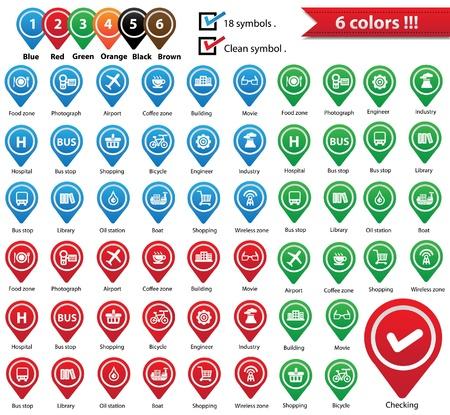 zone: Vector Kaart Pins Pointer, Symbolen voor gebruik kaart, vector