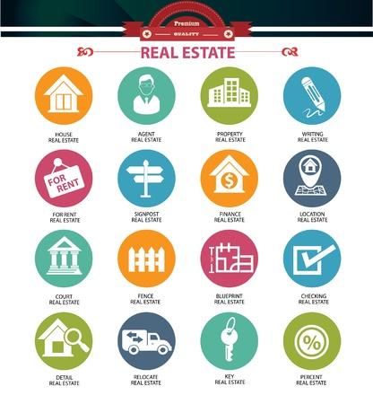 Iconos de bienes raíces, versión colorida, vector Ilustración de vector
