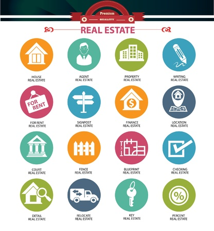 property for sale: Real estate icons,Colorful version,vector