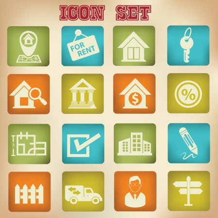 Real estate icons,vintage style,vector Vector