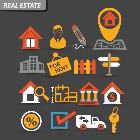 icone immobilier: Immobilier ic�nes, version color�e, vecteur Illustration