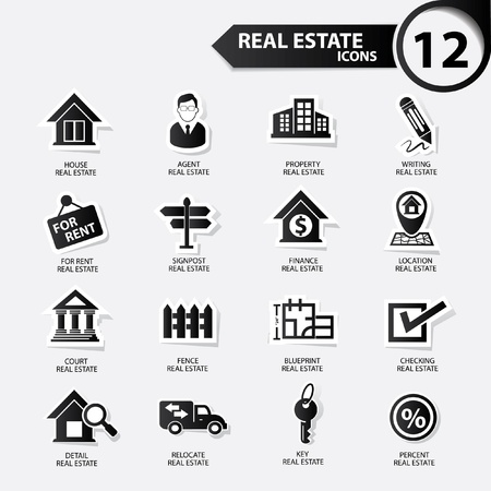property management: Real estate icons,Black version,vector Illustration