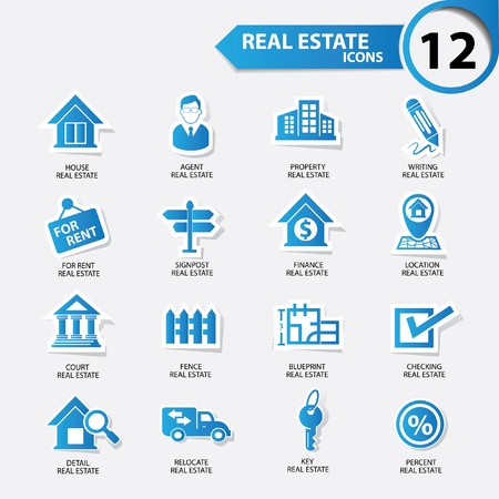 Real estate icons,Blue version,vector Illustration