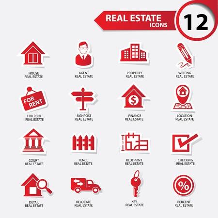 Immobilier icônes, version rouge, vecteur