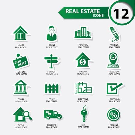 commercial real estate: Iconos de bienes ra�ces, versi�n verde, vector Vectores
