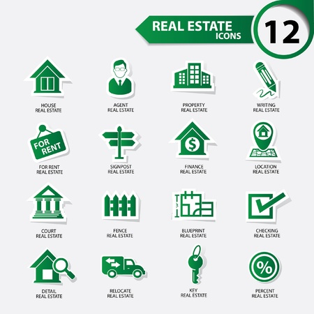 property management: Real estate icons,Green version,vector Illustration
