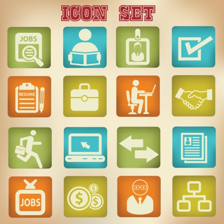 old business man: Jobs vintage icons,vector