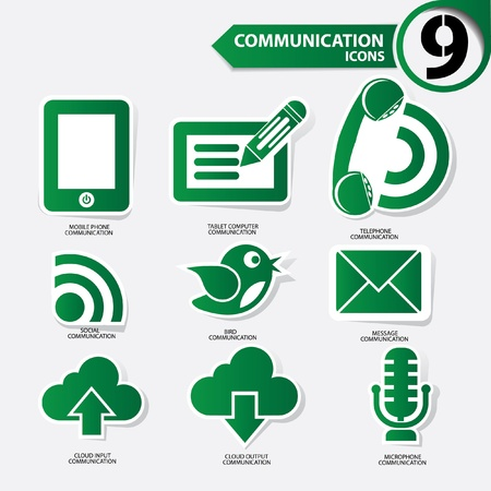 Communication icons,Green version,vector Stock Vector - 21635506