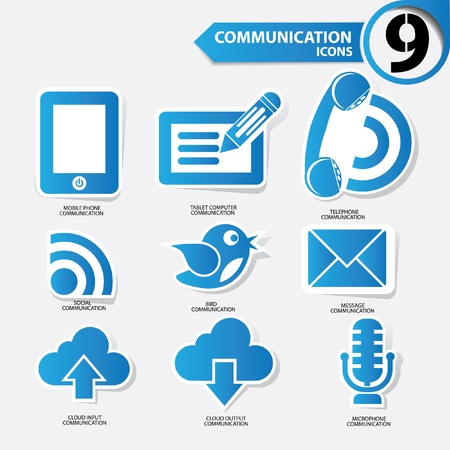 Communication icons,Blue version,vector Vector