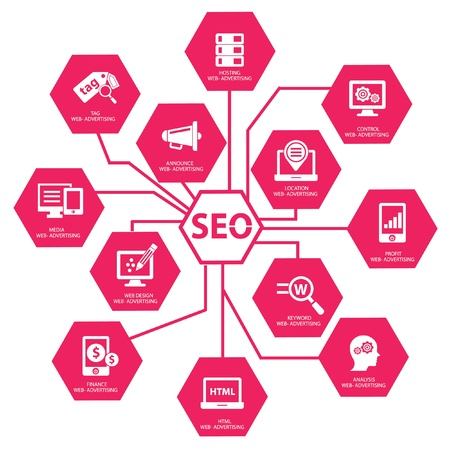 Seo concept on white background,Pink version,vector Stock Vector - 21569610