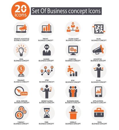 Iconos de gestión de negocios, vector Ilustración de vector