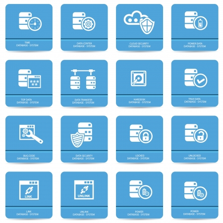 solid state drive: Database and computer system icons,vector