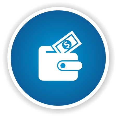 Money symbol,Blue button,vector Vector
