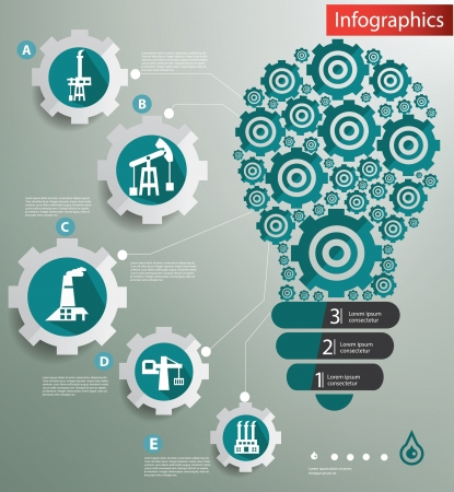 Industry concept,Gears light bulb,Infographic design,vector