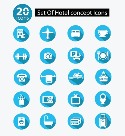 domed tray: Hotel icon set,Blue version,vector