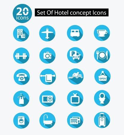 Hotel icon set,Blue version,vector