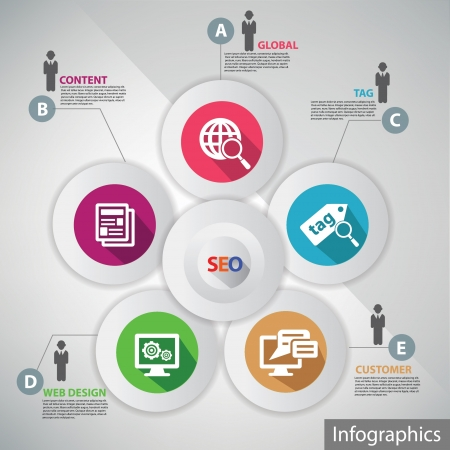 Seo infographics,for text,vector Vector