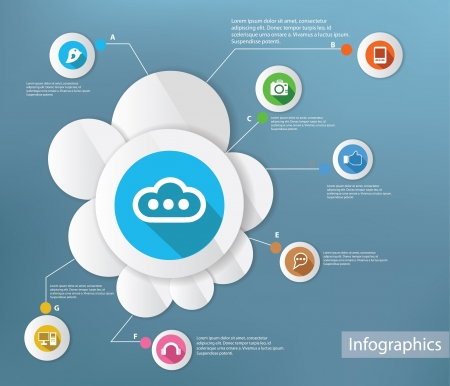 Cloud computing and technology,Infograp hic design,vector Vector
