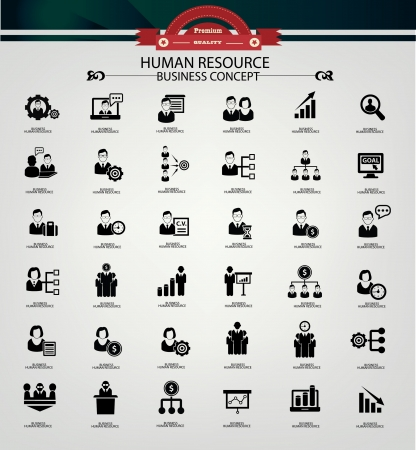 Human resource,business concept,icons,black version Stock Vector - 22090046