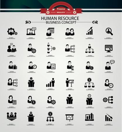 rewarding: Human resource,business concept,icons,black version