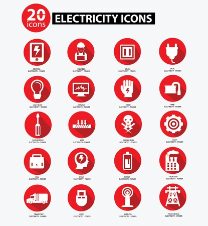 Electricity icon collection,Red version,vector Vector