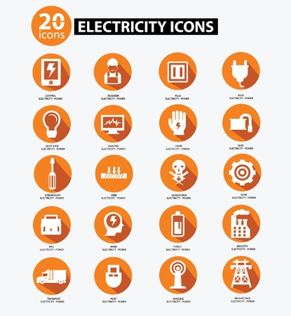 electricity icon: Electricity icon collection,Orange version,vector