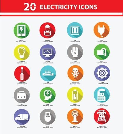 enchufe de luz: Colección de iconos de electricidad, Versión colorida, vector