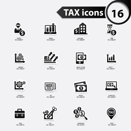 Belastingen en financiën pictogrammen, zwarte versie, vector Vector Illustratie
