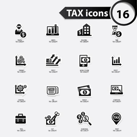 Impuestos y finanzas iconos, versión negro, vector Ilustración de vector