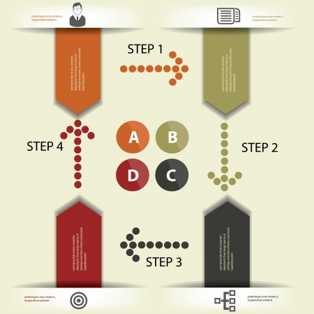 ve: 4 Step,Infographics,D esign element,Abstract,ve ctor Illustration