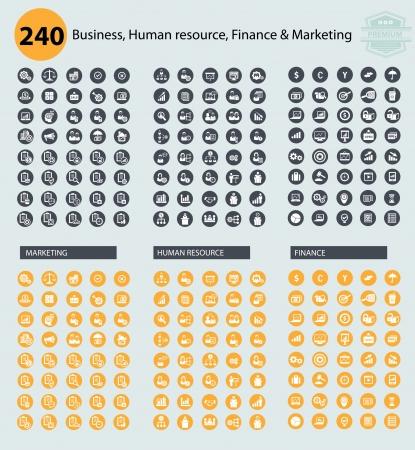 corporate hierarchy: Business, risorse umane e marketing icone, vettore