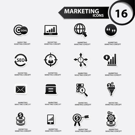 Marketing icons,Black version,vector