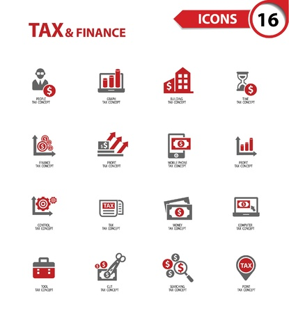 taxes: Tax and finance icons on white background,vector