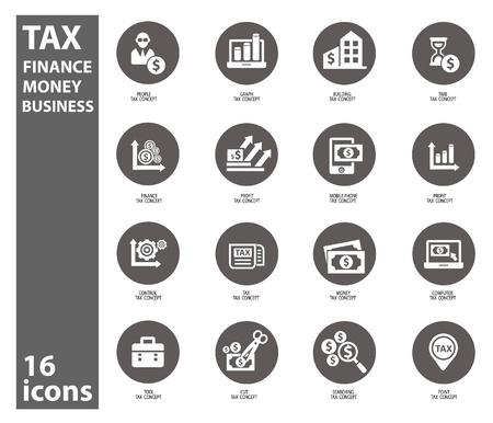 Impuestos y finanzas iconos en el fondo blanco, vector