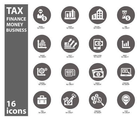 investing: Tax and finance icons on white background,vector