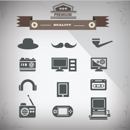 Retro technology icons,Old technology,vector Vector