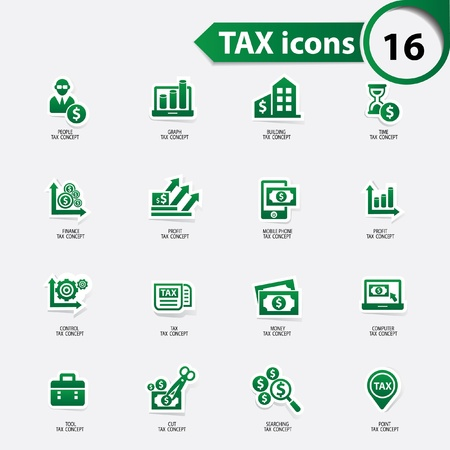 stockmarket chart: Tax and finance icons,green version,vector