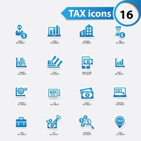 Belastingen en financiën iconen, blauwe versie, vector