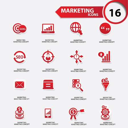 Marketing icons,Red version,vector Vector