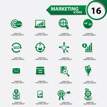 Marketing icons,Green version,vector Stock Vector - 21910538