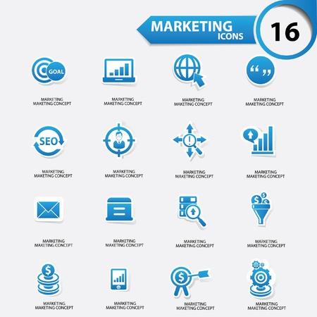Iconos Marketing, versión azul, vector Foto de archivo - 21910541
