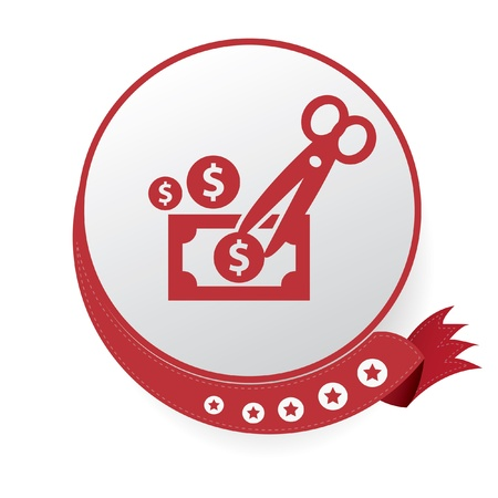 deficit: Cut money,Tax symbol,vector Illustration