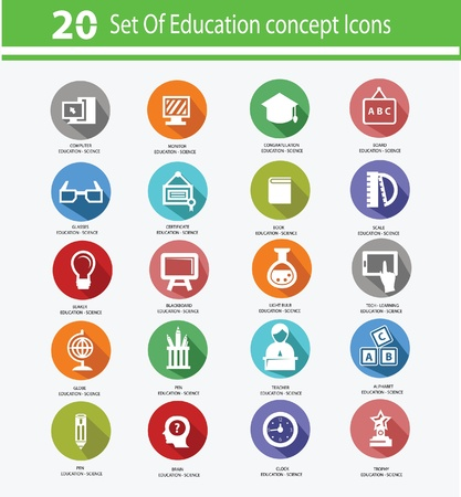 study icon: Education icon set,Colorful version