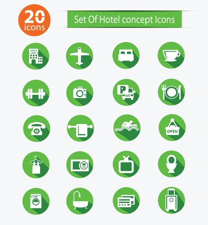 round: Hotel icon set,Green version Illustration