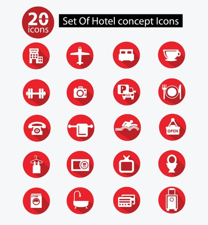 Hotel icon set,Red version Vector